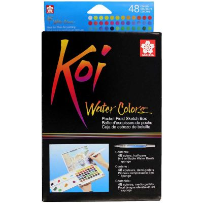 Koi Watercolor Pocket Field Sketch Box  48 Colors Assorted Colors - XNCW48N