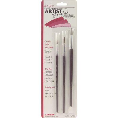 Camel Hair Artist Brush Set 3/Pkg - A383