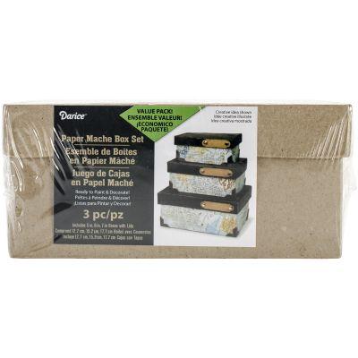 Paper Mache Rectangle Box Set 3/Pkg 4