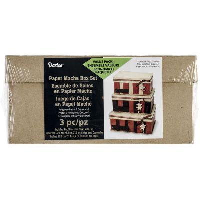 Paper Mache Rectangle Box Set 3/Pkg 8