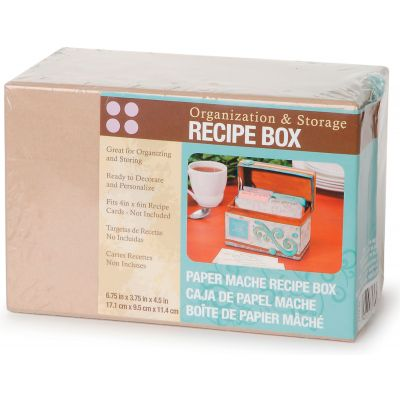 Paper Mache Recipe Box 6.75