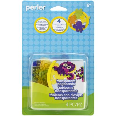 Perler Pegboards 4/Pkg Assorted Clear Gem - 80-26050