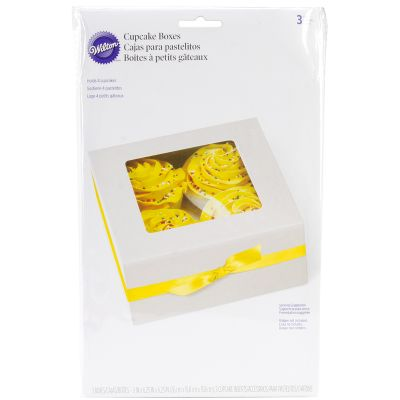 Cupcake Boxes 4 Cavity White 3/Pkg - W51215