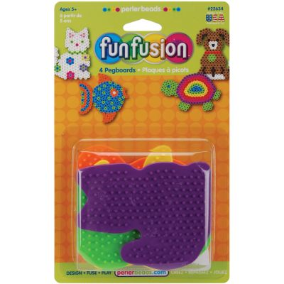 Perler Fun Fusion Pegboards 4/Pkg Dog/Fish/Cat/Turtle - 22634