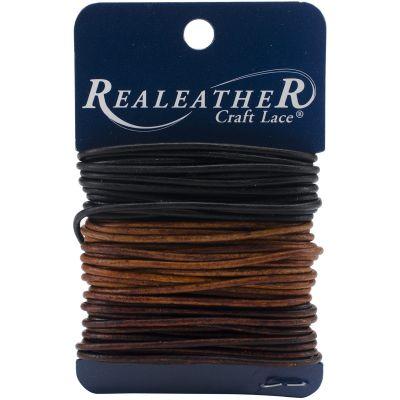 Realeather Crafts Round Leather Lace 2Mmx8Yd Carded Ebony, Cedar & Mahogany - RLC0222