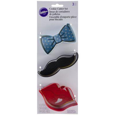 Metal Cookie Cutter Set 3/Pkg Lips, Mustache & Tie - W0900