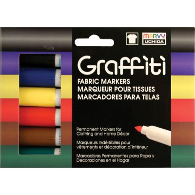 Uchida Graffiti Fabric Markers 6/Pkg Primary - 560-6A
