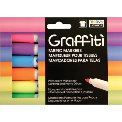 Uchida Graffiti Fabric Markers 6/Pkg Fluorescent - 560-6C