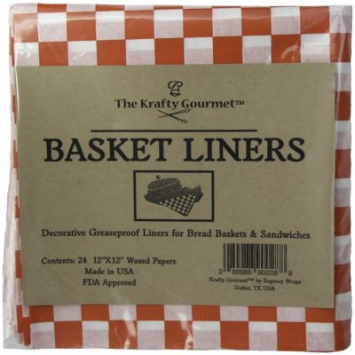 The Krafty Gourmet Basket Buddies Greaseproof Liners 24/Pkg Red & White Check - KG028