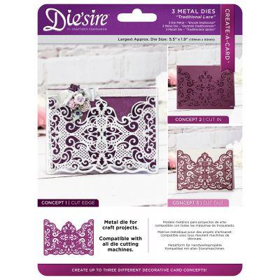 Die'Sire Create A Card Metal Dies Traditional Lace - DSCAD5-TRLA