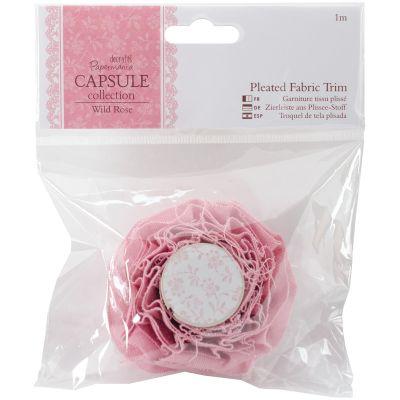 Papermania Wild Rose Pleated Fabric Trim 1M  - PM358335