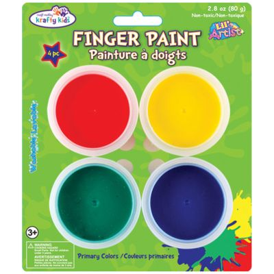 Finger Paint Tubs .7Oz 4/Pkg Primary - KC081-P