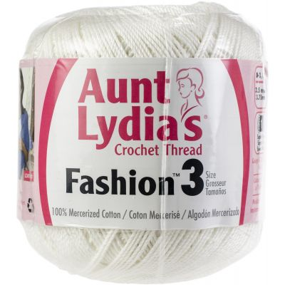 Aunt Lydia's Fashion Crochet Thread Size 3  12/Pk-White