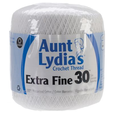 Aunt Lydia's Extra Fine Crochet Thread Size 30 12/Pk-White