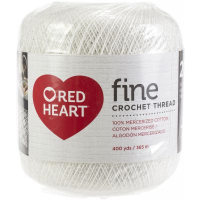 Red Heart Fine Crochet Thread Size 20 12/Pk-White