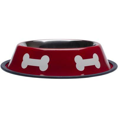 Fashion Steel Bowl Red W/White Bones 32Oz  - 19232