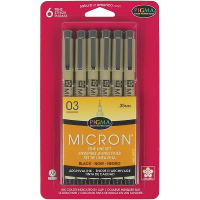 Pigma Micron Pens 03 .35Mm 6/Pkg Black - 50037