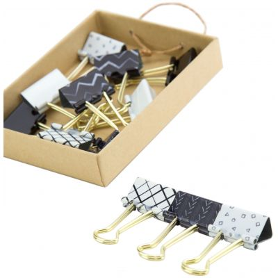 Medium Binder Clips Black & White With Gold Prongs Assorted Prints, 12/Pkg - 766A0624