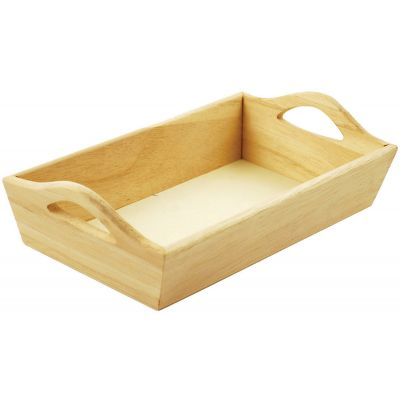 Paintable Wooden Tray W/Handles 8.125