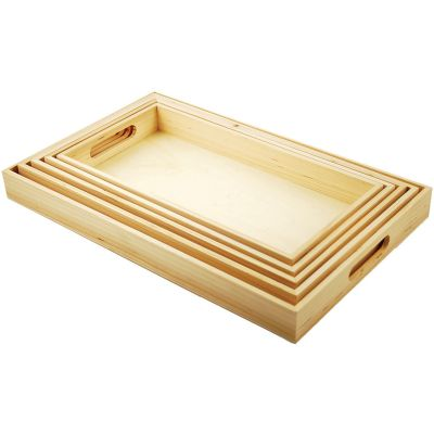 Paintable Wooden Trays W/Handles 5/Pkg 6.625