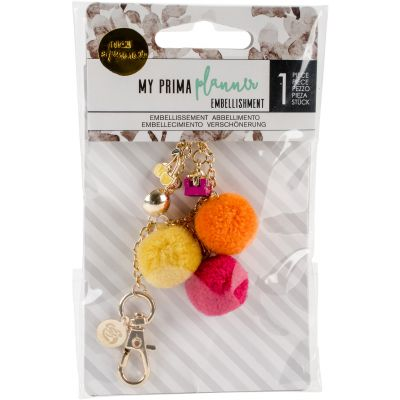 My Prima Planner Pom Pom Key Chain Adornment Fuchsia Cherry - 595241