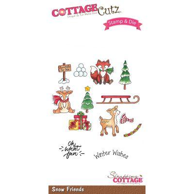 Cottagecutz Stamp & Die Set Snow Friends - CCS042