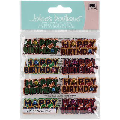 Jolee'S Cabochon Dimensional Repeat Stickers Happy Birthday Words - E5021152