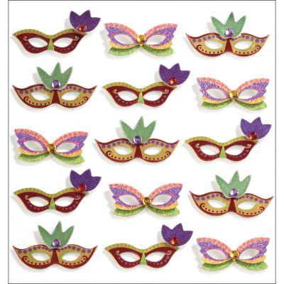 Jolee'S Cabochon Dimensional Repeat Stickers Mardi Gras Masks - E5021186