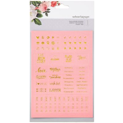 Color Crush Planner Foil Embossed Stickers Pink Words - WSP-111
