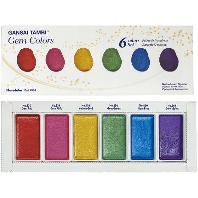 Kuretake Gansai Tambi 6 Color Set Gem Colors - MC20GC6V