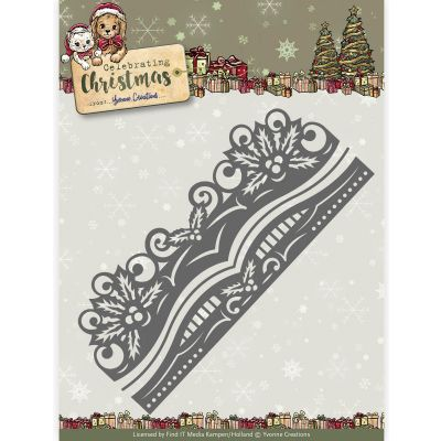 Find It Yvonne Creations Celebrating Christmas Die Holly Border - YCD10112