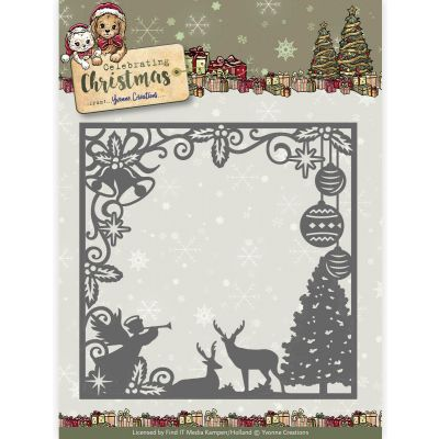 Find It Yvonne Creations Celebrating Christmas Die Christmas Scene Square Frame - YCD10115