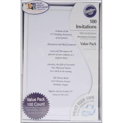 Invitation Kit Makes 100 White Single Border - W8658