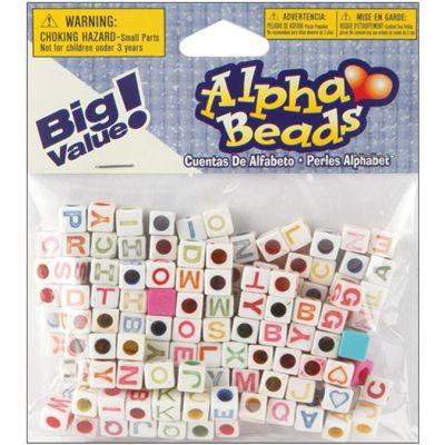 Alphabet Beads 6Mm 160/Pkg White W/Multicolor Letters - 1935-95
