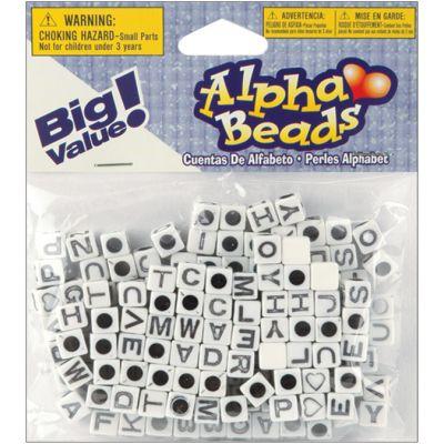 Alphabet Beads 6Mm 160/Pkg White W/Black Letters - 1930-24