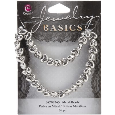 Jewelry Basics Metal Beads 9Mm 36/Pkg Silver Puffed Heart - 34708245