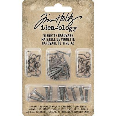 Idea Ology Vignette Hardware Pack 55/Pkg Hooks, Nails, Screw Eyes & Long Screws - TH93668