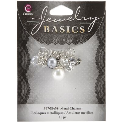 Jewelry Basics Metal Charms Smoke Glass & Metal Bead Cluster 11/Pkg - JBCHARM-8458