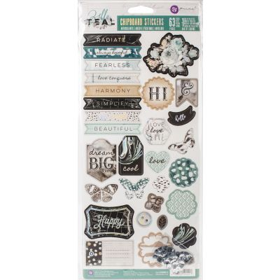 Zella Teal Self Adhesive Chipboard W/Sequins - 595517