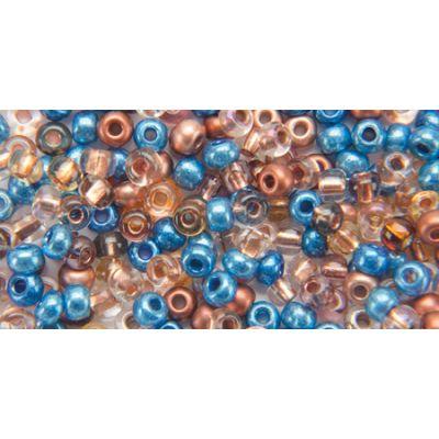 Glass Bead Tube 24G 6/0 Aqua & Copper Mix - BP-6E406