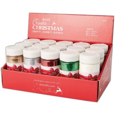 Papermania Large Glitter Pots (250G) In Filled Cdu 15Pcs Traditional Christmas - PM401910