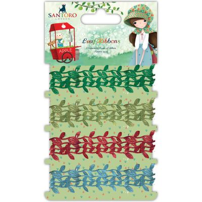 Craft Consortium Santoro Kori Kumi Ribbon 4/Pkg Leaf, 4 Designs/1M Each - SKKRBN1