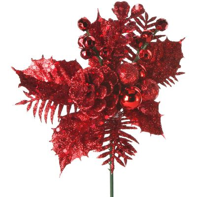 Glittered Berries Holly & Cone Pick Red - 49451RED