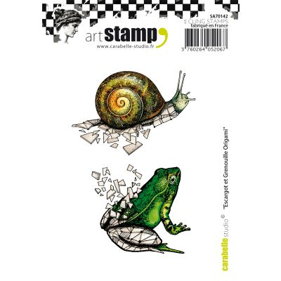 Carabelle Studio Cling Stamp A7 Snail & Frog Origami - SA70142
