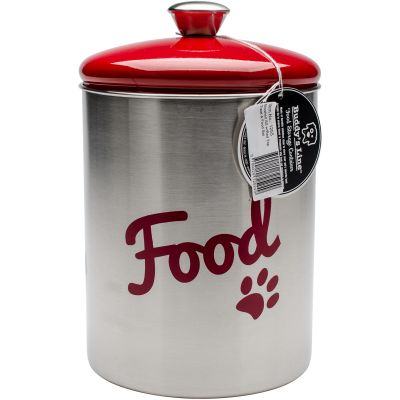 Stainless Steel Pet Treat/Food Set 2/Pkg Red Top - 1255