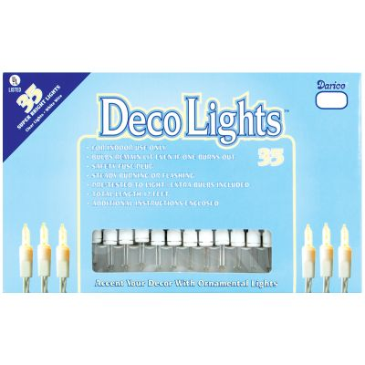 Deco Lights 35 Count 12' Clear Bulbs W/White Wire - LT35-1