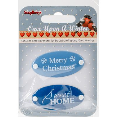 Scrapberry'S Once Upon A Winter Metal Embellishments 2/Pkg #1 Word Plates - 3409102