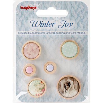 Scrapberry'S Winter Joy Wooden Frame Buttons 6/Pkg Assorted - 3409108