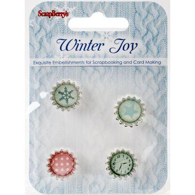 Scrapberry'S Winter Joy Metal/Cork Embellishments 4/Pkg  - 340982