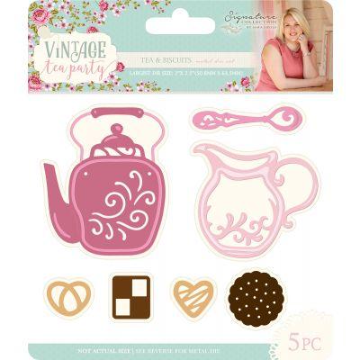 Sara Davies Signature Vintage Tea Party Dies Tea & Biscuits - VTPTAB